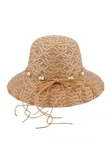 Beaded Bow Straw Hat