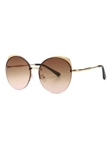 Semi-rimless Round Catty Eye Sunglasses