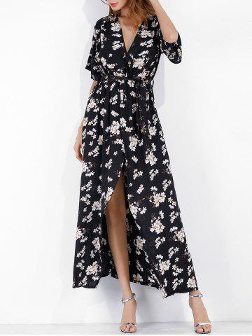 Surplice Floral Long Slit Belted Dress