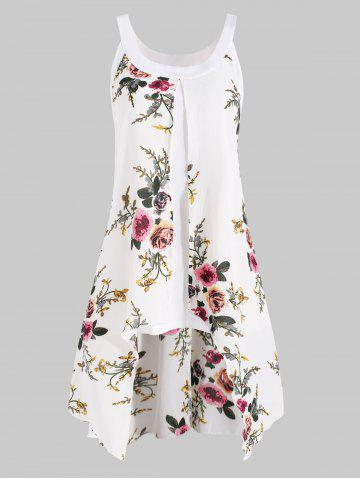 Plus Size High Low Floral Overlay Tank Top