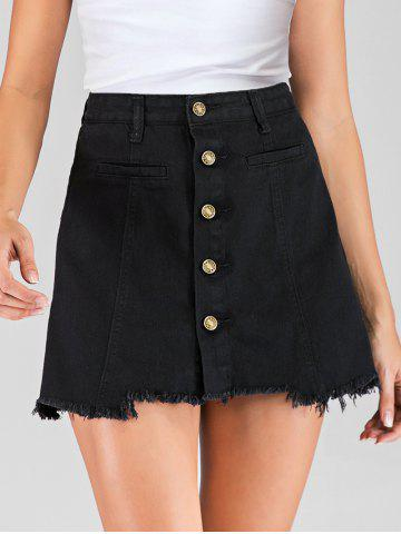Button Fly Frayed Hem Skirt