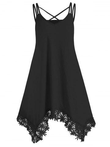 Crochet Trim Criss Cross Cami Dress