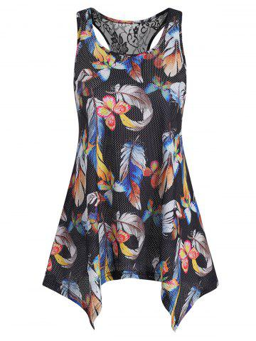 Lace Panel Butterfly Feather Print Tank Top