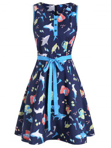 V Neck Printed Sleeveless Belted Dress
