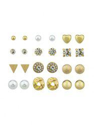 12Pairs Button Rhinestone Earrings Set -