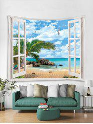 Window Beach Palm Leaves Print Tapestry Wall Hanging Art Decoration -