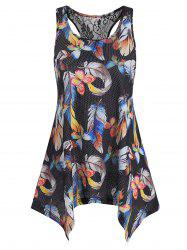 Lace Panel Butterfly Feather Print Tank Top -