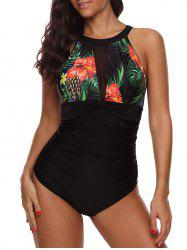 Mesh Panel Flower Cut Out Swimsuit -
