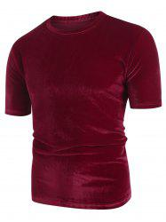Solid Color Round Neck Short Sleeves T-shirt -