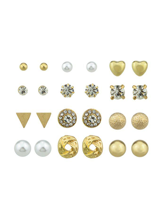 12Pairs Button Rhinestone Earrings Set