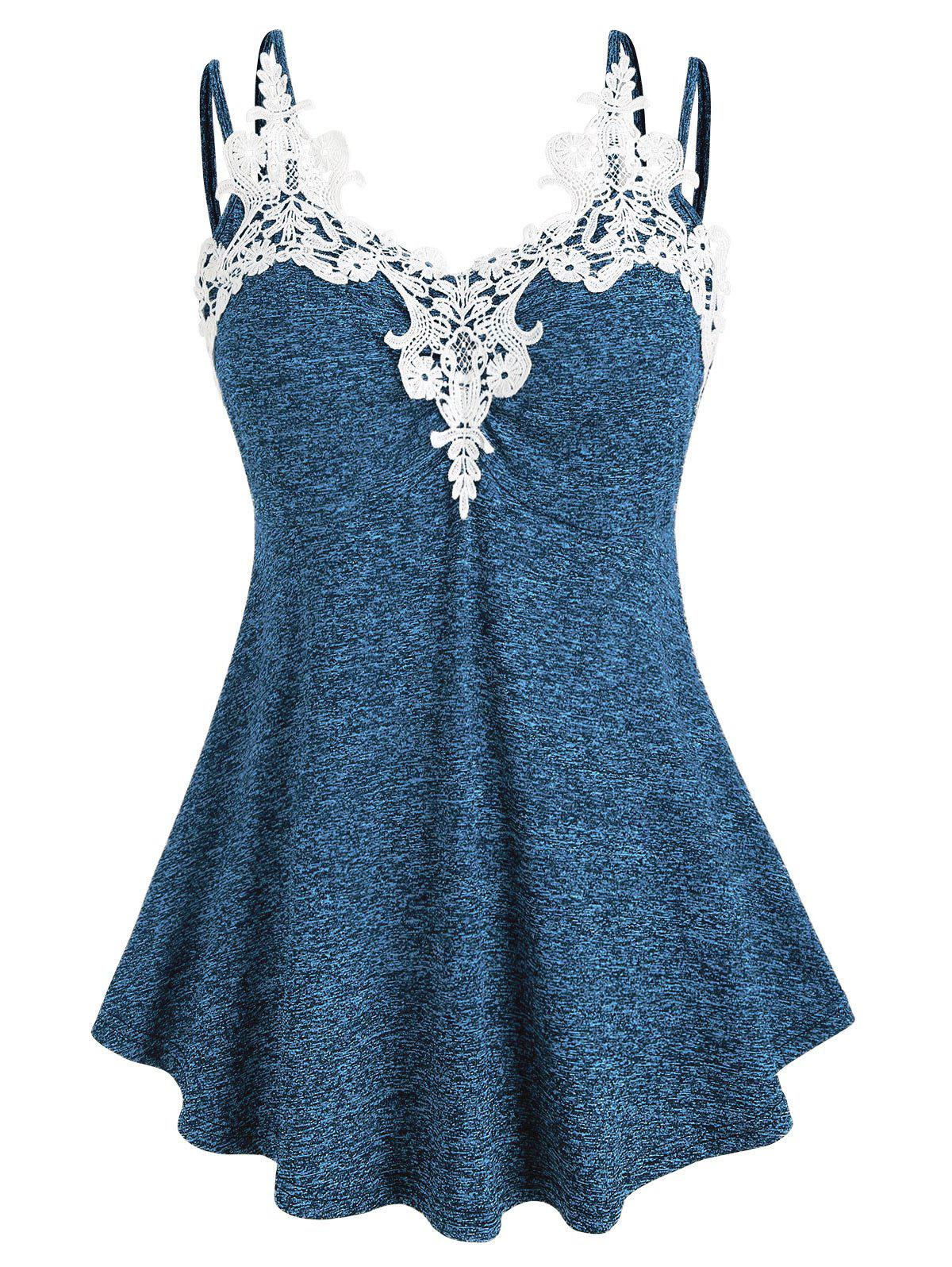 Store Plus Size Marled Contrast Lace Tank Top