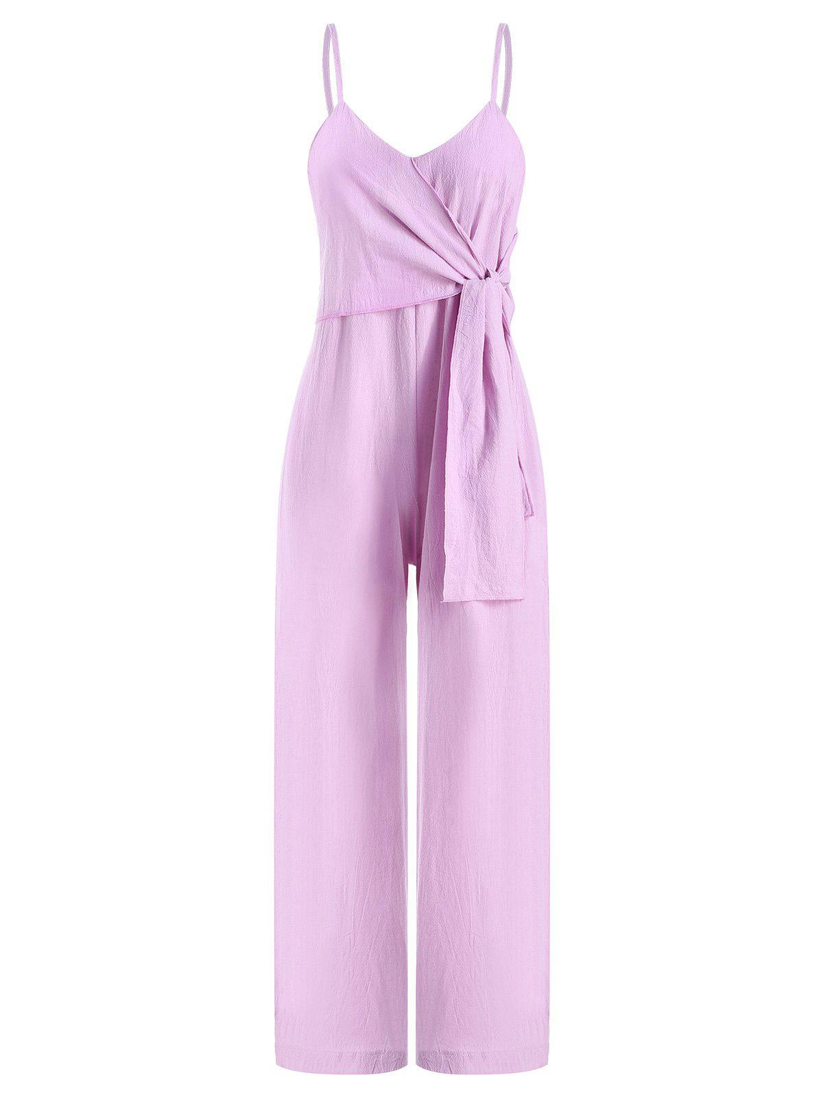 Affordable Wide Leg Front Knotted Cami Jumpsuit