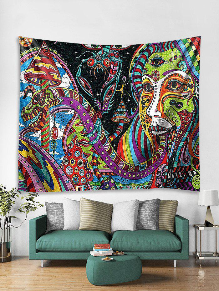 3D Abstract Face Pattern Wall Tapestry