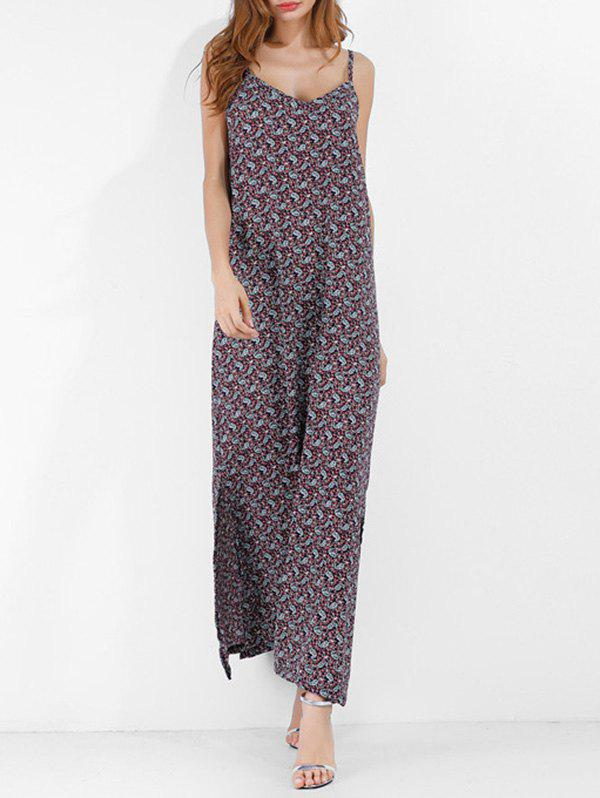 Affordable Bohemian Printed Long Cami Slit Dress
