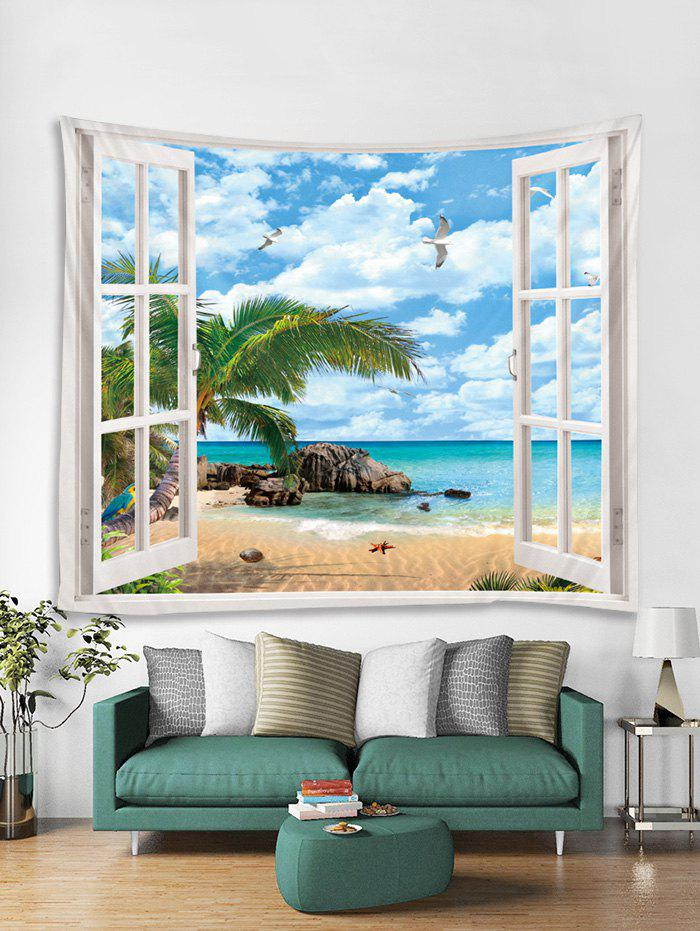 Shop Window Beach Palm Leaves Print Tapestry Wall Hanging Art Decoration