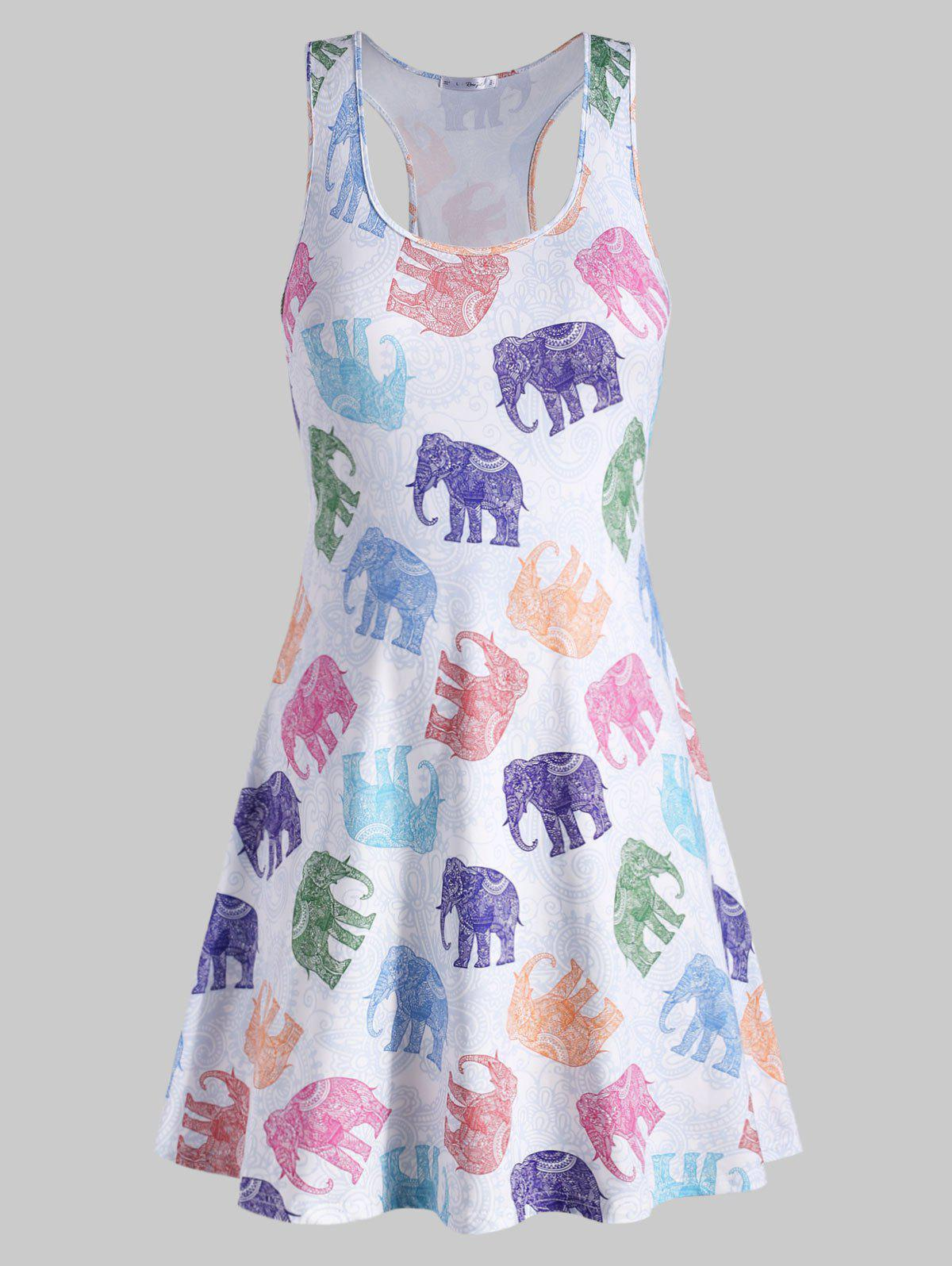Plus Size Elephant Print Tank Dress