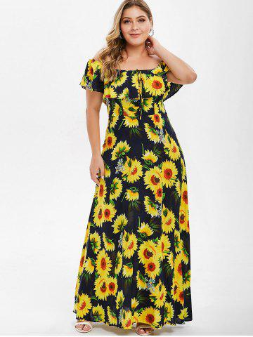 66d53b1970a Plus Size Off The Shoulder Tie Maxi Dress