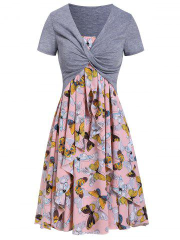Butterfly Print Dress and Twist Crop Top