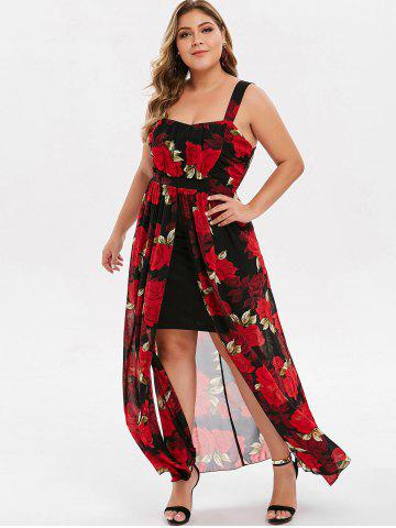 Plus Size Floral Overlay Slit Maxi Dress