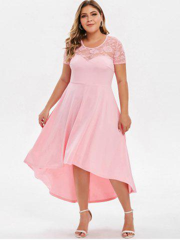 Plus Size High Low Lace Panel Evening Dress