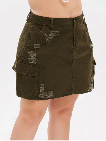 Plus Size Distressed Jean Skirt
