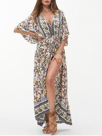 Bohemian Floral Batwing Sleeve Slit Maxi Dress