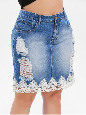 Plus Size Lace Trim Distressed Denim Skirt