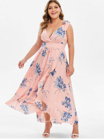 33fe9fd7e Plus Size Tie Shoulder High Low Floral Maxi Dress