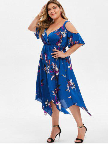 Plus Size Plunge Cold Shoulder Asymmetrical Dress