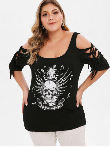 Plus Size Open Shoulder Ripped Skull Print T-shirt
