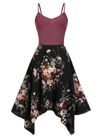 Plus Size Floral Print Handkerchief Cami Dress