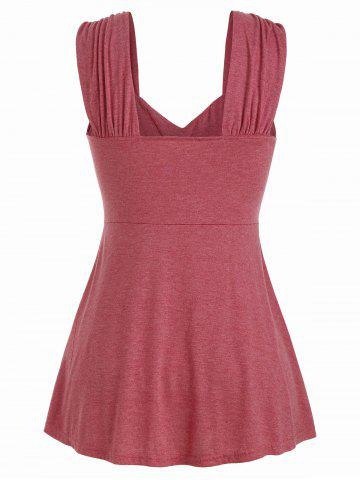 Plus Size Tie Marled Ruffle Tank Top, Cherry red