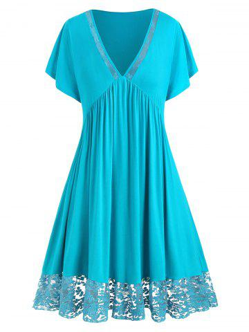 Plus Size Plunge Lace Panel Dress - TURQUOISE - 2X