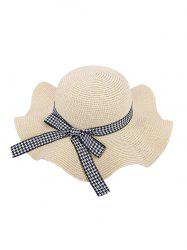 Houndstooth Bow Wavy Straw Hat -