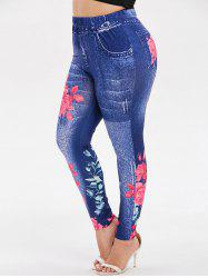 High Waisted Floral Plus Size Leggings -