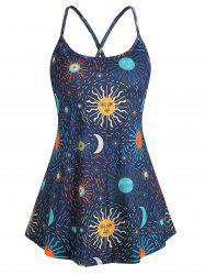 Criss Cross Star Sun and Moon Plus Size Cami Top -