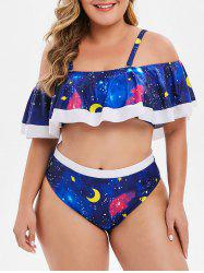 Overlay Planet Star Moon Print Plus Size Bikini Set -