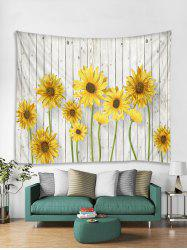 Wood Sunflower 3D Print Wall Tapestry -