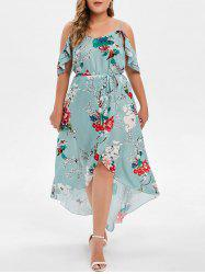 Plus Size High Low Maxi Floral Dress -
