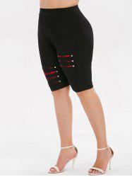 Plus Size High Rise Ripped Plaid Shorts -