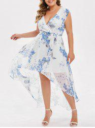 Plus Size Floral High Low Belted Dress -