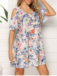Floral V Neck Open Shoulder Dress -