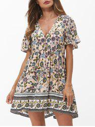 Low Cut Floral Butterfly Sleeve Mini Dress -