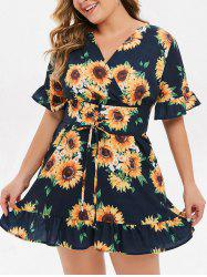 Plus Size Sunflower Print Lace Up Mini Dress -