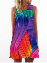 Multicolor Printed Sleeveless Trapeze Dress -