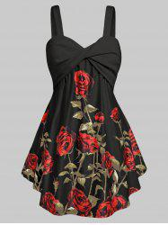 Plus Size Floral Print Flare Tank Top -