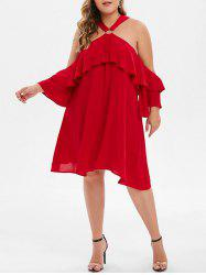 Plus Size Cold Shoulder O Ring Straight Dress -