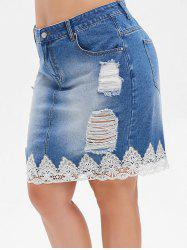 Plus Size Lace Trim Distressed Denim Skirt -