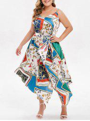 Plus Size Spaghetti Strap Printed Handkerchief Dress -