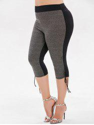 Plus Size Ruched Color Block Capri  Swim Bottom -